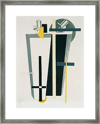 Abstract Composition In Grey, Yellow Framed Print