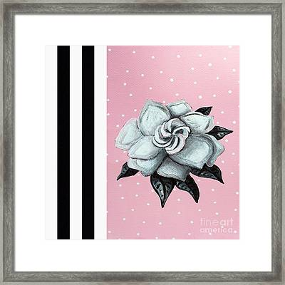 Abstract Contemporary Whimsical Pink Painting Gardenia Flower By Madart Framed Print by Megan Duncanson