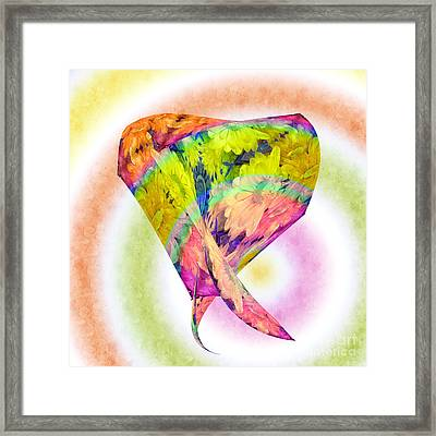 Abstract Crazy Daisies - Flora - Heart - Rainbow Circles - Painterly Framed Print by Andee Design