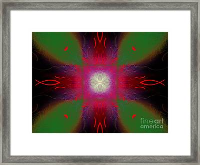 Abstract Cross Fish #4 Framed Print by Russell Kightley