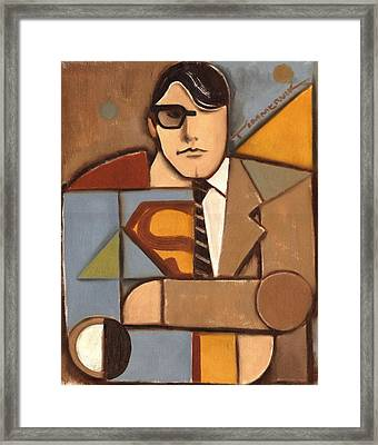 Abstract Cubism Clark Kent Superman Art Print Framed Print by Tommervik