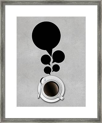 Abstract Cup Of Coffee With Bubbles On Concrete Background Framed Print