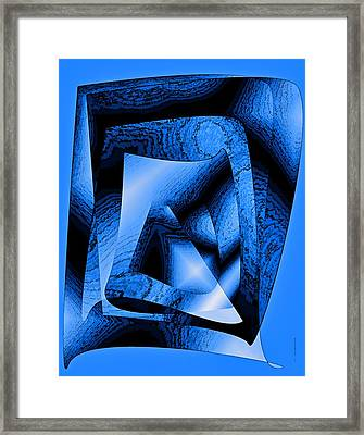 Abstract Design In Blue Contrast Framed Print by Mario Perez