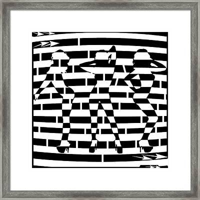 Abstract Distortion Dancin Girls Maze  Framed Print by Yonatan Frimer Maze Artist