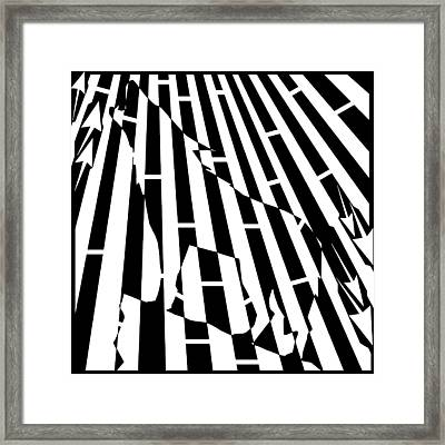 Abstract Distortion Howling Wolf Maze  Framed Print by Yonatan Frimer Maze Artist