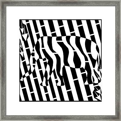 Abstract Distortion Invisible Elephant In The Room Maze  Framed Print by Yonatan Frimer Maze Artist