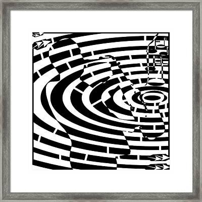 Abstract Distortion Jazz On Saxophone Maze  Framed Print by Yonatan Frimer Maze Artist