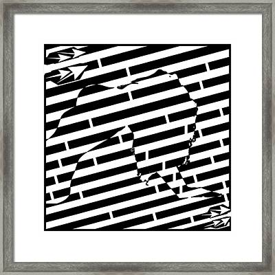 Abstract Distortion Sexy Woman Maze Framed Print by Yonatan Frimer Maze Artist