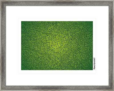 Abstract Doodle Faces Green Framed Print by Frank Ramspott