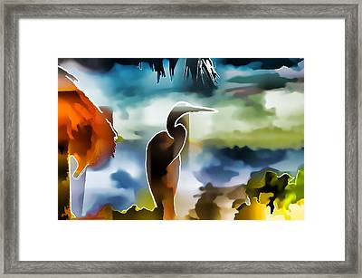 Abstract Egret Profile Framed Print