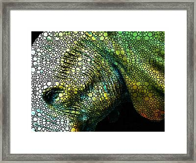 Abstract Elephant - Colorful Stone Rock'd Art By Sharon Cummings Framed Print by Sharon Cummings