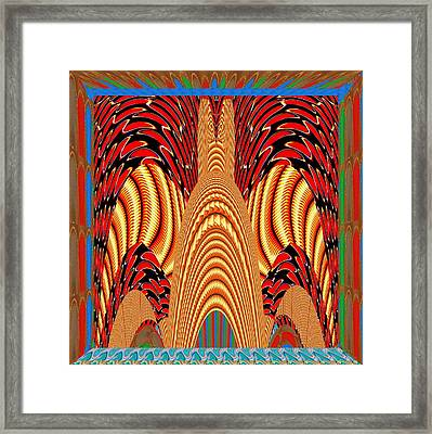 Abstract Fantasy Golden Gates Of 100 Headed Snake Temple Guarded By Two Snake Soldiers Framed Print