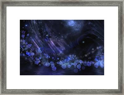 Abstract Fantasy In Black And Blue Framed Print by Nika Lerman