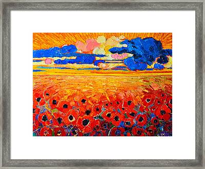 Abstract Field Of Poppies Under Cloudy Sunset  Framed Print
