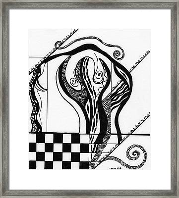 Abstract Figure In Black And White 2 Framed Print by Christine Perry