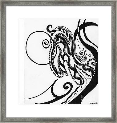 Abstract Figure In Black Framed Print by Christine Perry