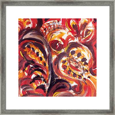 Abstract Floral Khokhloma Seed Pod Framed Print by Irina Sztukowski