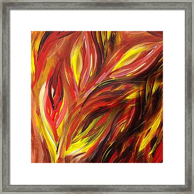 Abstract Floral Flaming Leaves Framed Print