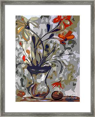 Abstract Floral Still Life Red And Neutral Colors Framed Print by Ginette Callaway