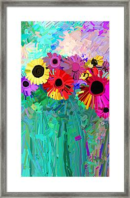 abstract - flowers- Flower Power Four Framed Print by Ann Powell