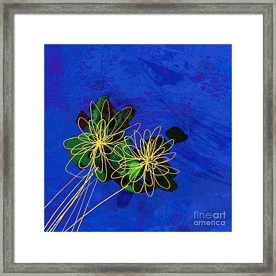 Abstract Flowers On Blue Framed Print