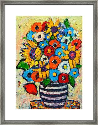 Abstract Flowers - Sunflowers And Colorful Poppies In Striped Vase Framed Print