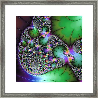 Abstract Fractal Art Green Purple Jewel Colors Square Format Framed Print