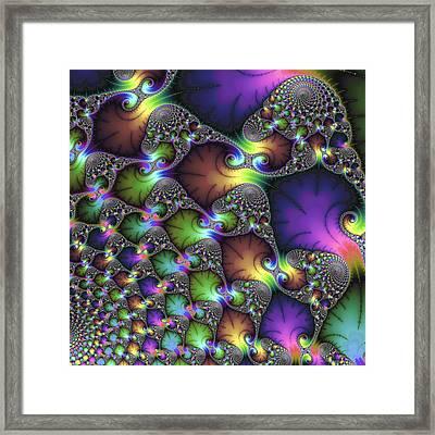 Abstract Fractal Art Purple Sienna Green Framed Print