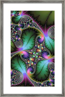 Abstract Fractal Art With Jewel Colors Framed Print