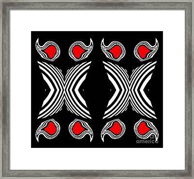 Abstract Geometric Black White Red Op Art No.385. Framed Print by Drinka Mercep