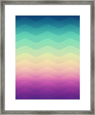 Abstract Geometric Candy Rainbow Waves Pattern Multi Color Framed Print by Philipp Rietz