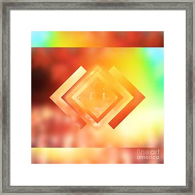 Abstract Geometric Gradient Colors Framed Print