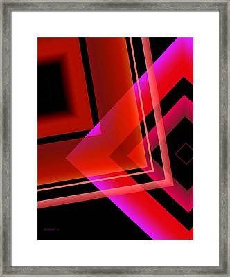 Abstract Geometry In Red Transparency Framed Print by Mario Perez