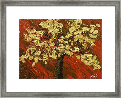 Abstract Gold Maple Tree Palette Knife Painting Framed Print by Keith Webber Jr