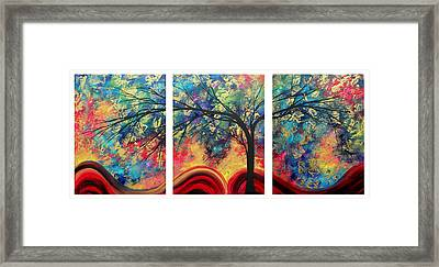 Abstract Gold Textured Landscape Painting By Madart Framed Print by Megan Duncanson