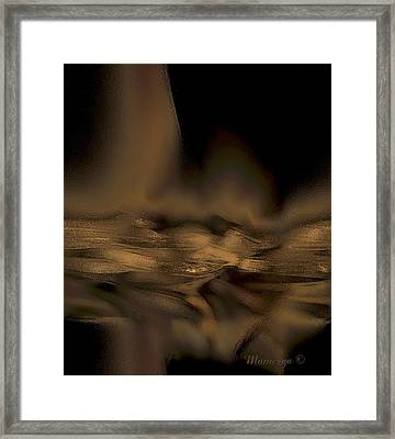 Abstract Golden Fireplace Framed Print by Ines Garay-Colomba