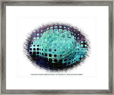 Abstract Green Brain Coral Framed Print by Fabiola L Nadjar Fiore