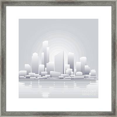 Abstract Grey City Background Framed Print