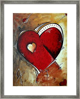 Abstract Heart Original Painting Valentines Day Heart Beat By Madart Framed Print by Megan Duncanson