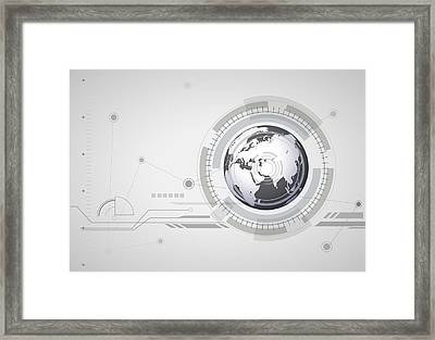 Abstract Hitech Digital Global Background. Framed Print