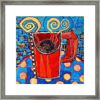 Abstract Hot Coffee In Red Mug Framed Print