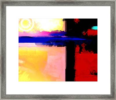 Framed Print featuring the painting Abstract Impressions Of A Blue Horizon by Karon Melillo DeVega