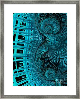 Abstract In Blue And Black Framed Print by John Edwards