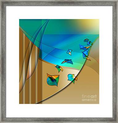 Framed Print featuring the digital art Abstract In Leaves by Allison Ashton