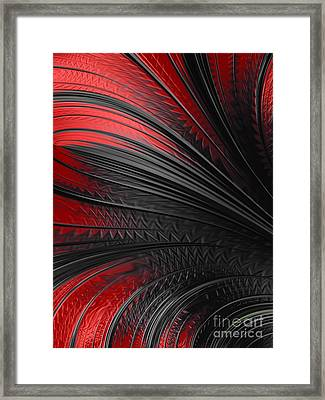 Abstract In Red And Black Framed Print by John Edwards