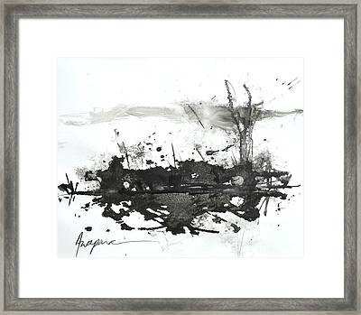Modern Abstract Black Ink Art Framed Print