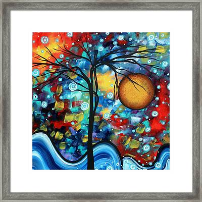 Abstract Landscap Art Original Circle Of Life Painting Sweet Serenity By Madart Framed Print by Megan Duncanson