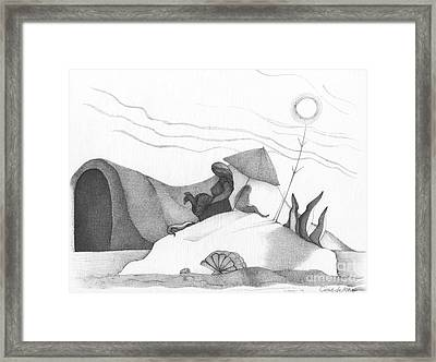 Abstract Landscape Art Black And White Beach Cirque De Mor By Romi Framed Print