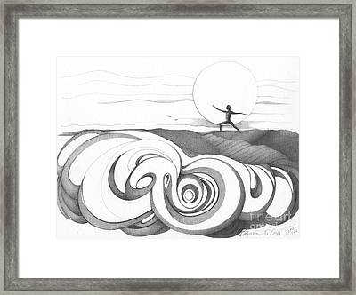 Abstract Landscape Art Black And White Yoga Zen Pose Between The Lines By Romi Framed Print
