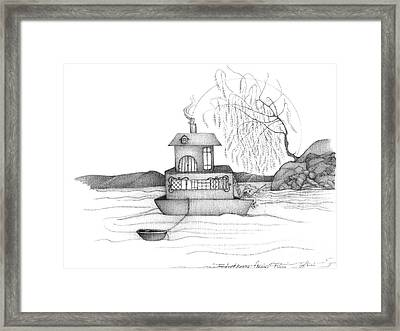 Abstract Landscape Art Black And White Boat House Annies River By Romi Framed Print